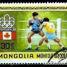 Sellos: MONGOLIA SCOTT:906-(1976) (JJ OO MONTREAL'76 - BOXEO) (USADO). Lote 148082110