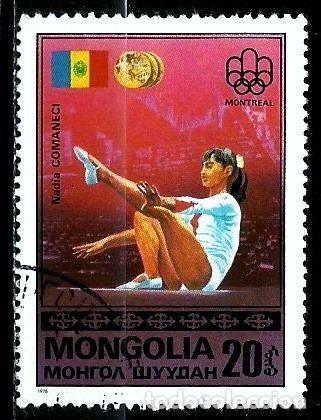 MONGOLIA SCOTT:929-(1976) (JJ OO MONTREAL: MEDALLA DE ORO: NADIA COMANECI, RUMANIA) (USADO) (Sellos - Extranjero - Asia - Mongolia)