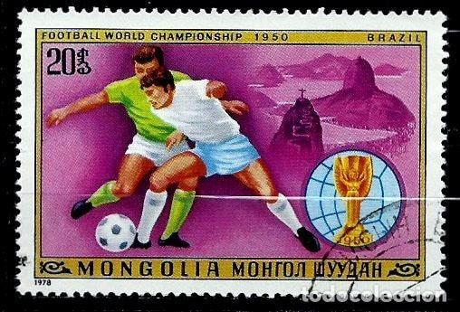 MONGOLIA SCOTT:1012-(1978) (COPA DE LA FIFA - BRASIL 1950) (USADO) (Sellos - Extranjero - Asia - Mongolia)
