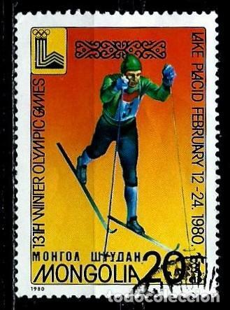 MONGOLIA SCOTT:1097-(1980) (JJ OO LAKE PLACID -SKY DE FONDO) (USADO) (Sellos - Extranjero - Asia - Mongolia)