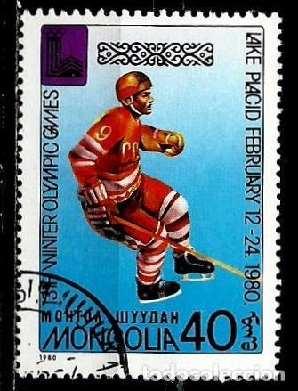 MONGOLIA SCOTT:1099-(1980) (JJ OO LAKE PLACID -HOCKEY SOBRE HIELO) (USADO) (Sellos - Extranjero - Asia - Mongolia)