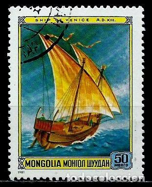 MONGOLIA SCOTT:1188-(1981) (VELERO VENECIANO DEL Sº XIV) (USADO) (Sellos - Extranjero - Asia - Mongolia)