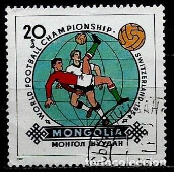 MONGOLIA SCOTT:1243-(1982) (MUNDIAL DE FUTBOL: SUIZA-1954) (USADO) (Sellos - Extranjero - Asia - Mongolia)