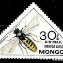 Sellos: MONGOLIA SCOTT:C-130-(1980)(AEREO) (INSECTOS:CHAQUETA AMARILLA EUROPEA (PARAVESPULA GERMAN) (USADO). Lote 148095486