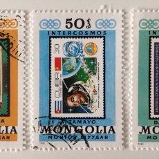 Sellos: LOTE DE 3 SELLOS CTO CON G.O. DE MONGOLIA- INTERCOSMOS. Lote 155255329