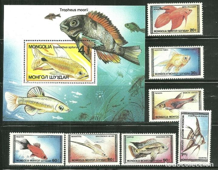 MONGOLIA 1987 IVERT 1485/91 Y HB 117 *** FAUNA MARINA - PECES ORNAMENTALES (Sellos - Extranjero - Asia - Mongolia)