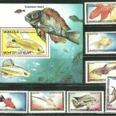 Sellos: MONGOLIA 1987 IVERT 1485/91 Y HB 117 *** FAUNA MARINA - PECES ORNAMENTALES. Lote 170926015