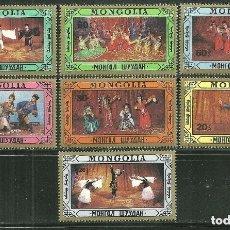 Sellos: MONGOLIA 1987 IVERT 1538/44 *** EL ARTE DE LA COREOGRAFIA EN MONGOLIA . Lote 173848979