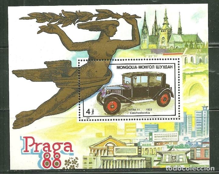 MONGOLIA 1988 HB IVERT 126 *** EXPOSICIÓN FILATÉLICA MUNDIALEN PRAGA - PRAGA-88 - COCHES (Sellos - Extranjero - Asia - Mongolia)