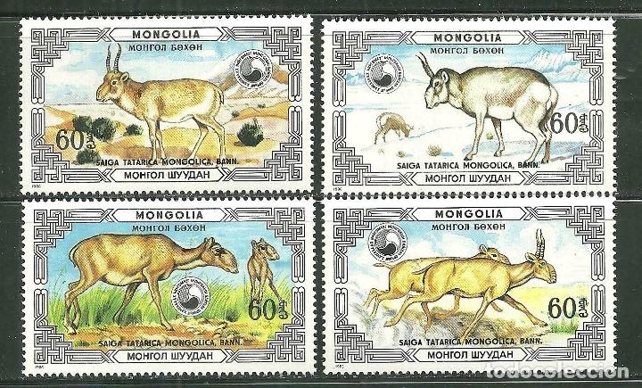 MONGOLIA 1986 IVERT 1477/80 *** FAUNA - ANIMALES PROTEGIDOS - LA SAIGA TATARICA MONGOLICA (Sellos - Extranjero - Asia - Mongolia)