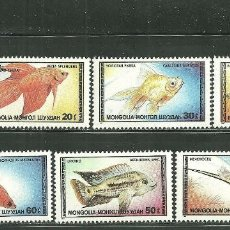 Sellos: MONGOLIA 1987 IVERT 1485/91 *** FAUNA MARINA - PECES ORNAMENTALES. Lote 184361033