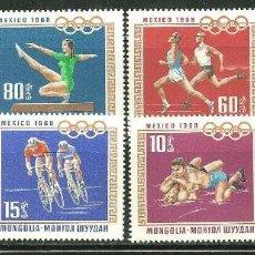 Sellos: MONGOLIA 1968 IVERT 452/59 *** JUEGOS OLIMPICOS DE MEXICO - DEPORTES. Lote 189332270