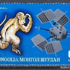 Timbres: MONGOLIA 1972 - ANIMALES DEL CALENDARIO MONGOL Y SATÉLITE EXPLORER-6, USA, AÉREO - SELLO USADO. Lote 207602320