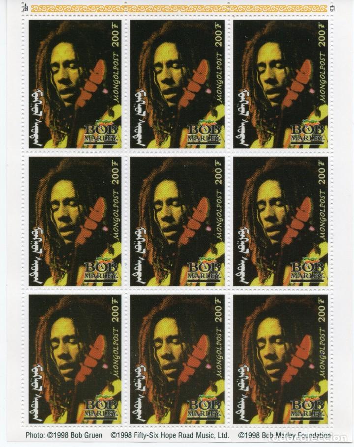 MONGOLIA/1998/MNH/SC#2332/ RETRATO DE BOB MARLEY / MUSICA REAGEE / HOJA DE 9 (Sellos - Extranjero - Asia - Mongolia)
