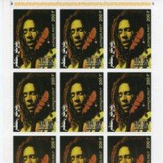 Sellos: MONGOLIA/1998/MNH/SC#2332/ RETRATO DE BOB MARLEY / MUSICA REAGEE / HOJA DE 9. Lote 221339698