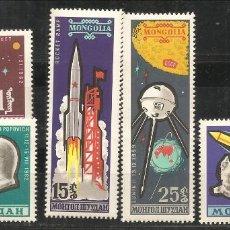 Sellos: MONGOLIA, 1963, 281/85, CARRERA ESPACIAL , NUEVO SIN SEÑAL DE FIJASELLOS. Lote 232687370