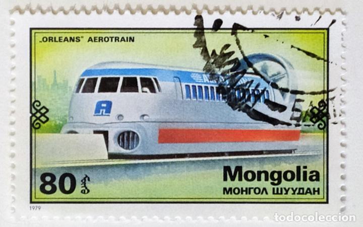 SELLO DE MONGOLIA 80 - 1979 - AEROTREN - USADO SIN SEÑAL DE FIJASELLOS (Sellos - Extranjero - Asia - Mongolia)