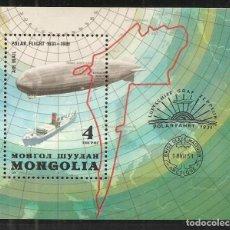 Sellos: MONGOLIA, YVERT HB-81, VUELO POLAR ZEPPELIN 1981, NUEVO SIN GOMA. Lote 243219435