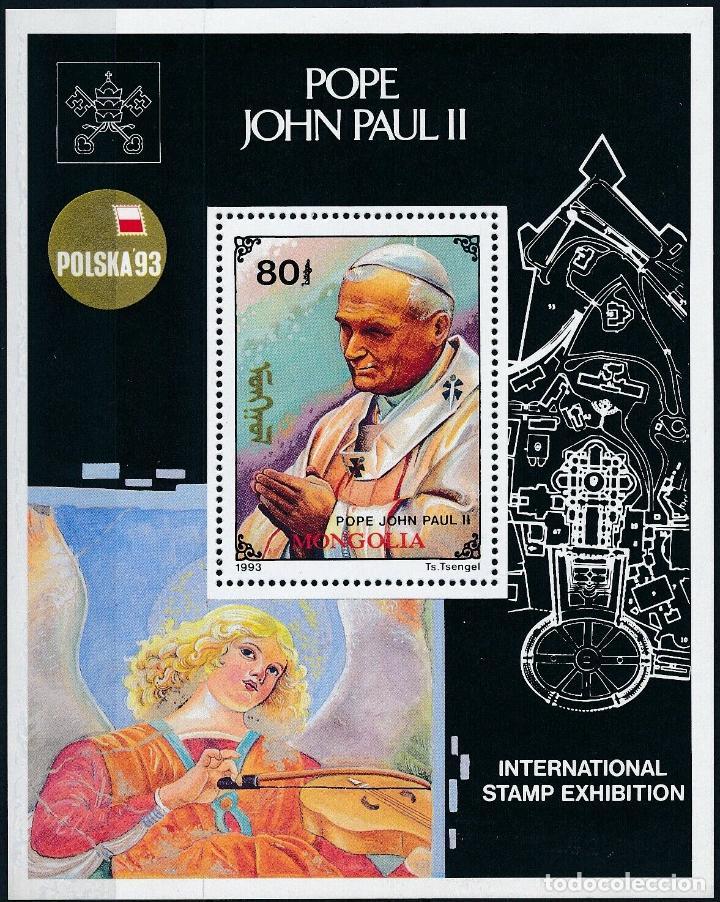 MONGOLIA 1993 HB IVERT 198 *** EXPOSICIÓN FILATÉLICA INTERNACIONAL EN POZNAN - S.S. JUAN PABLO II (Sellos - Extranjero - Asia - Mongolia)
