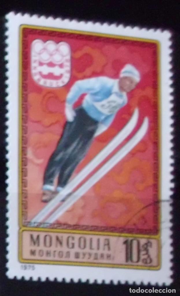 SELLO DE MONGOLIA JUEGOS INSBRUCK 1976 (MATASELLADO) (Sellos - Extranjero - Asia - Mongolia)