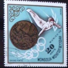 Sellos: SELLO DE MONGOLIA MUNICH 1972 (MATASELLADO). Lote 276500618