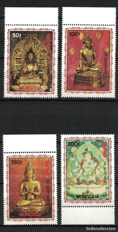 MONGOLIA 1993 IVERT 1979D/79G *** BANGKOK 93 EXPOSICIÓN FILATÉLICA INTERNACIONAL - ESTATUAS DE BUDA (Sellos - Extranjero - Asia - Mongolia)
