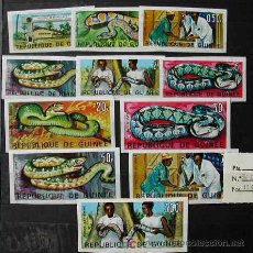 Sellos: GUINEA REPUBLICA SERIE DE 11 SELLOS DE MEDICINA - SERPIENTE (SIN DENTAR) - YVERT Nº 316-325. Lote 23659493