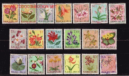 RUANDA - URUNDI 177/95*- AÑO 1953 - FLORES DIVERSAS (Sellos - Temáticas - Naturaleza)