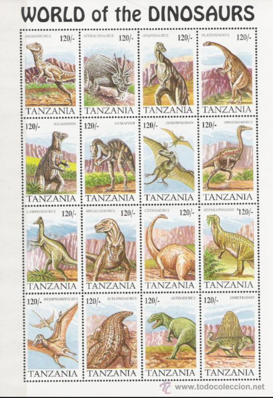 TEMA DINOSAURIOS GRAN HOJA DE TANZANIA (Sellos - Temáticas - Naturaleza)