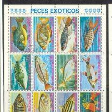 Sellos: HOJITA DE GUINEA ECUATORIAL. MATASELLADA. TEMA PECES.. Lote 19639374