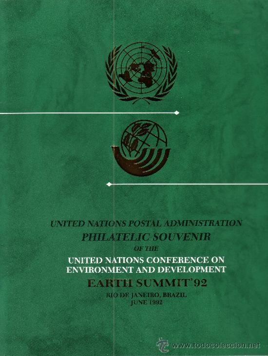 NACIONES UNIDAS AÑO 1992 - SOUVENIR FILATELICO DE LA CUMBRE DEL PLANETA TIERRA RIO DE JANEIRO (Sellos - Temáticas - Naturaleza)