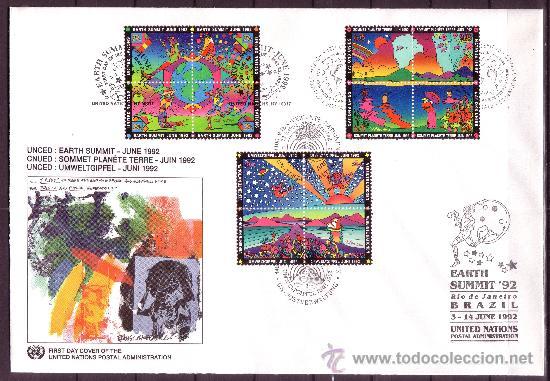 Sellos: NACIONES UNIDAS AÑO 1992 - SOUVENIR FILATELICO DE LA CUMBRE DEL PLANETA TIERRA RIO DE JANEIRO - Foto 2 - 24441035