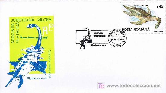 MATASELLOS DE PREHISTORIA - PLESIOSARUS. RIMNICU VILCEA, RUMANIA, 1993 (Sellos - Temáticas - Naturaleza)