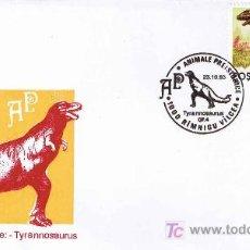 Sellos: MATASELLOS DE PREHISTORIA - TYRANNOSAURUS. RIMNICU VILCEA, RUMANIA, 1993. Lote 18899440