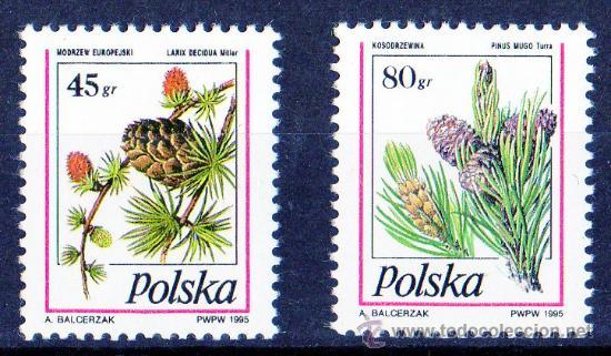 POLONIA AÑO 1995 YV 3318/19*** ÁRBOLES - FLORA - NATURALEZA (Sellos - Temáticas - Naturaleza)