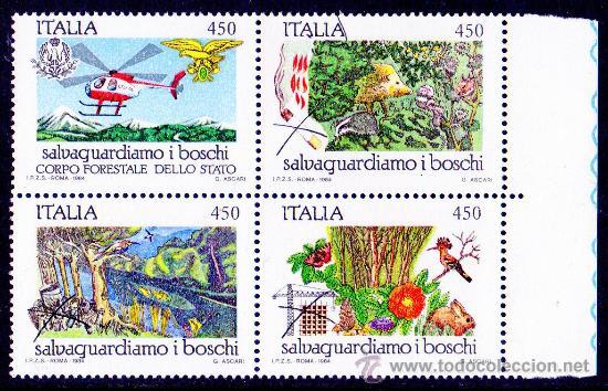ITALIA AÑO 1984 YV 1611/14*** PROTECCIÓN DE NATURALEZA Y MEDIO AMBIENTE - FAUNA - FLORA - AVIONES (Sellos - Temáticas - Naturaleza)