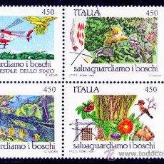 Sellos: ITALIA AÑO 1984 YV 1611/14*** PROTECCIÓN DE NATURALEZA Y MEDIO AMBIENTE - FAUNA - FLORA - AVIONES. Lote 28048727