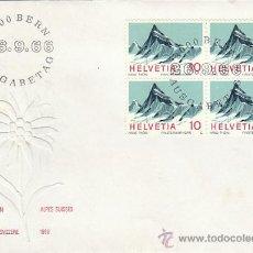 Sellos: SUIZA IVERT 775, ALPES SUIZOS, MONTE FINSTERAARHORN, PRIMER DIA DE 26-9-1966 EN BLOQUE 4. Lote 28605802