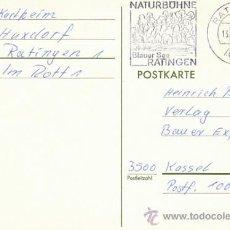 Sellos: ALEMANIA, PARQUE NATURAL DE RATINGEN, MAR AZUL, MATASELLO DE 13-12-1975 (ENTERO POSTAL). Lote 30192035