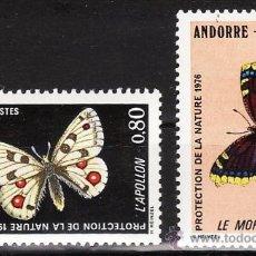 Sellos - andorra francesa - proteccion naturaleza - mariposas / insectos - 2 val - s.c.- nueva - año 1976 - 31814053