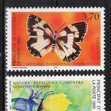 Sellos - andorra francesa - proteccion naturaleza - mariposas/ fauna - 2 val - s.c.- nueva - año 1995 - 31924594