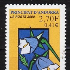 Sellos - andorra francesa - proteccion naturaleza - flores - flora - 1 val - s.c - nueva - año 2000 - 31941775