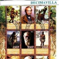 Sellos: CHARLES DARWIN, CONGO, 2012, L234, HOJA-BLOQUE USADA. Lote 92322430