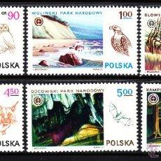 Sellos: POLONIA 2278/83** - AÑO 1976 - PARQUES NATURALES POLACOS - FAUNA - AVES. Lote 119141818