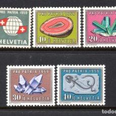 Sellos: SUIZA 625/29** - AÑO 1959 - MINERALES Y FÓSILES - PRO PATRIA. Lote 110509675