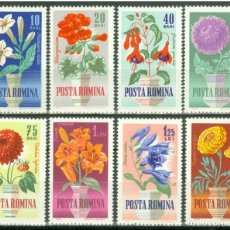 Sellos: RUMANIA 1964 FLORES - YVERT 1993-2000 MICHEL 2268-75 SCOTT 1623-30. Lote 26262409