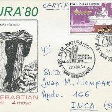 Sellos: 1980. SAN SEBASTIÁN. MATASELLOS/POSTMARK. NATURA'80. DOLMEN DE SAGASTIETA. ARQUEOLOGÍA/ARCHAEOLOGY.. Lote 113217399