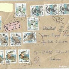 Sellos: 1991. ALEMANIA/GERMANY. SOBRE CIRCULADO DE SCHONINGEN A PALMA. FRANQUEO ATRACTIVO. AVES/BIRDS. FAUNA. Lote 119181519