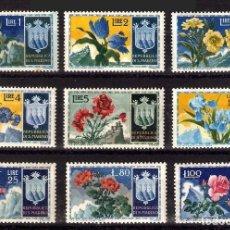 Sellos - SAN MARINO 1953 FLORES SERIE DE 9 SELLOS - YVERT 374-382 - 23423234