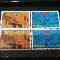 Sellos: SELLOS R. SURINAM (SURINAME) NUEVOS. 1994. CONTAMINACION AIRE RIOS. PECES. INDUSTRIA. PESCADO. FAUNA. Lote 131538001